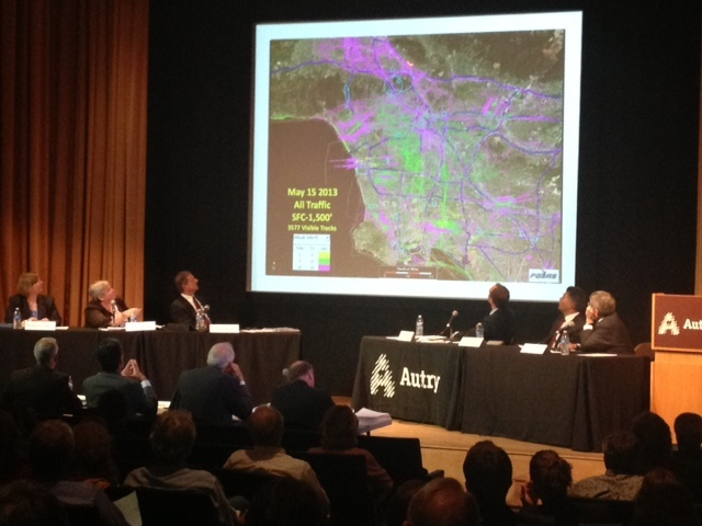 Representatives from the Federal Aviation Administration showed this map of the Los Angeles region that shows what is likely a 24-hour snapshot of helicopter flight paths. The green shows flights that are 500 to 1,000 feet above sea level. The magenta color represents flights that are 1,000 to 1,500 feet above sea level.