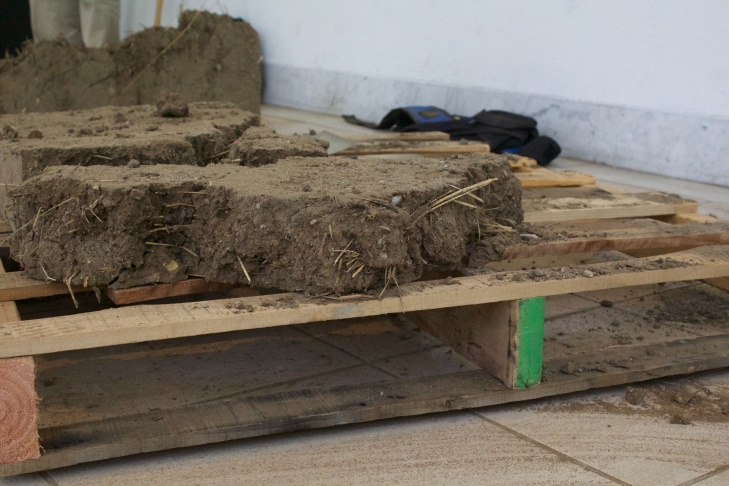 Rafa Esparza puts together the final bricks for