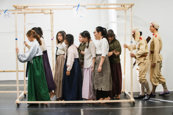 During a rehearsal for the musical off-Broadway production Comfort Women, Korean women forced into sexual slavery by the Japanese army are taken to Indonesia. Andrew Cullen for LAist