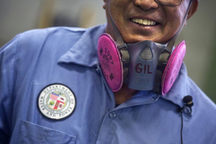 Gil Lingamen is a welder based at the East Valley Water District Headquarters in North Hollywood. Lingamen is part of the Department of Water and Power crew that worked to fix a pipe on Sunset Boulevard near UCLA that burst one year ago on July 29, 2014.