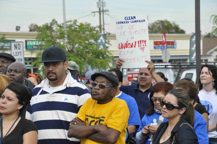 Supporters at car wash union event in South L.A.