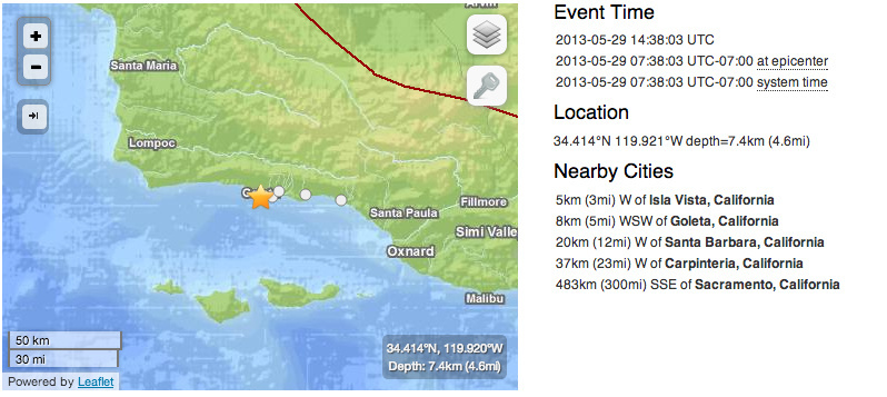 A summary of a 4.6 Santa Barbara County earthquake from the U.S. Geological Survey, Wednesday, May 29, 2013.