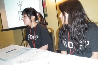 Heather Jun, left, and Sayada Sosa, teen members of the Koreatown Youth & Community Center, talked about a new report highlighting drug and alcohol abuse among teens in Koreatown during a news conference on May 12, 2011.