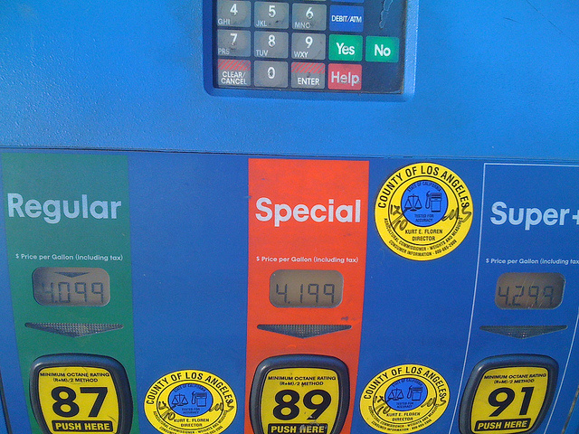 Gas prices in Castaic, CA, May 2011.