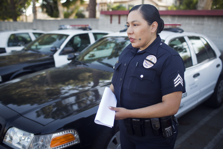 Sgt. Rosie Mejia of the LAPD's Hollywood Division prepares to go out on a patrol shift on Monday, May 12. Mejia is from the same division as officer Nicholas Lee, who was killed when his patrol car collided with a commercial vehicle on March 7.