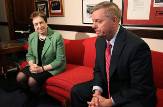 U.S. Supreme Court nominee, Solicitor General Elena Kagan (L) meets with Sen. Lindsey Graham (R-SC) (R) on Capitol Hill May 18, 2010 in Washington, DC.