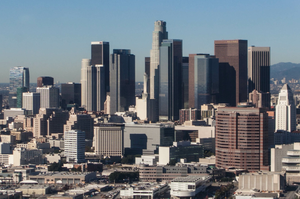 The grumpy skyline of Downtown Los Angeles.