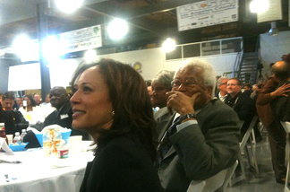 Kamala Harris attends the Los Angeles County Federation of Labor's annual Martin Luther King breakfast on Friday, Jan. 14, 2001. The state's first African-American and female attorney general spoke later, vowing to enforce laws on wages and working conditions and fight perpetrators of mortgage fraud.