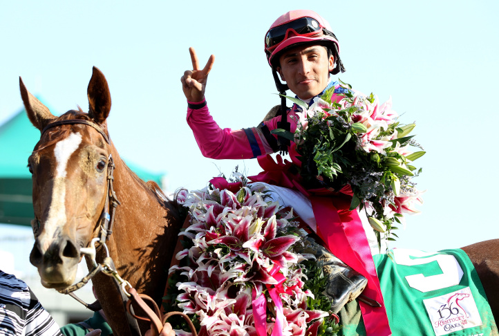 Rafael Bejarano rides atop Goldencents enroute to winning the Dirt Mile during the 2013 Breeders' Cup World Championships at Santa Anita Park on Nov. 1, 2013 in Arcadia.