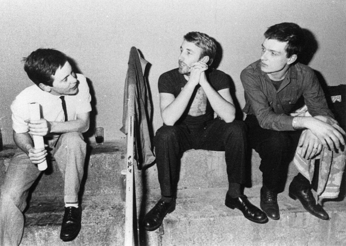 Bernard Sumner, Peter Hook, and Ian Curtis of Joy Division.