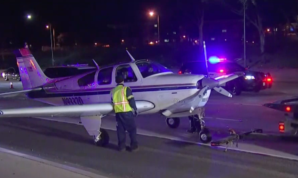 The Costa Mesa Fire Department tweeted Sunday night that a plane landed safely on the 55 Freeway, its occupants got out and that no injuries were reported.