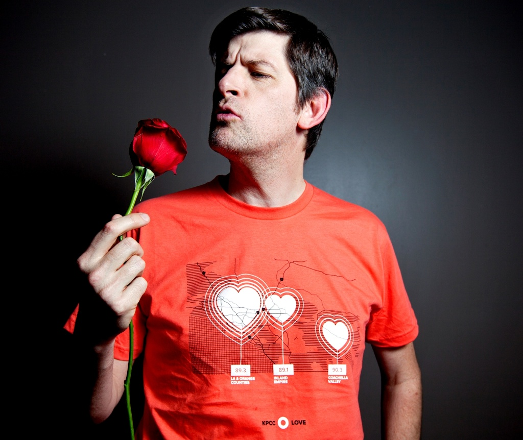 Off-Ramp host John Rabe with the new #kpcclove t-shirt.