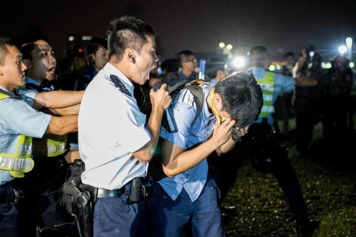 Police and pro-democracy protester Hong Kong