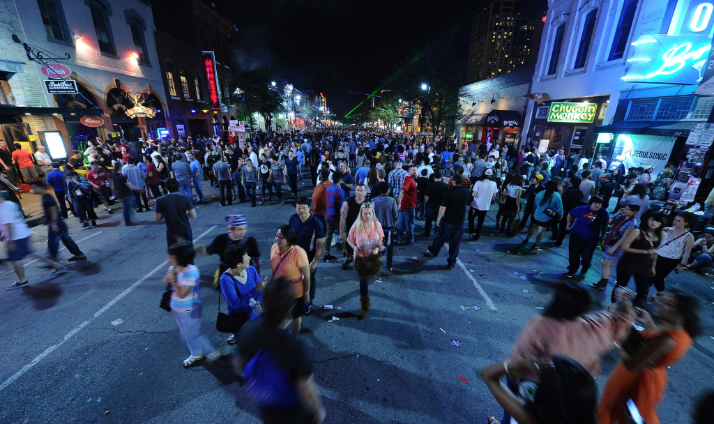A view of 6th Street during the 2012 SXSW Music, Film + Interactive Festival on March 16, 2012 in Austin, Texas.