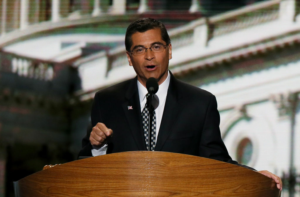 File: Democratic U.S. Rep. Xavier Becerra speaks on stage during the final day of the Democratic National Convention at Time Warner Cable Arena on September 6, 2012 in Charlotte, North Carolina.