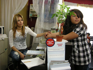 Wendy Arias, 29, left sits with her copy of the Census at Sharon Beauty Salon, one of 150 Questionnaire Assistance Centers sprouting up around Los Angeles.