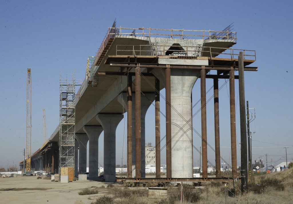 In this photo taken Wednesday, Dec. 6, 2017, is one of the elevated sections of the high-speed rail under construction in Fresno, Calif.