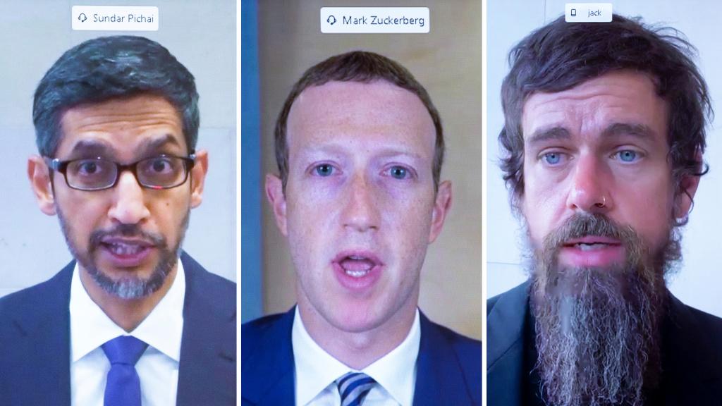 Google's Sundar Pichai, Facebook's Mark Zuckerberg and Twitter's Jack Dorsey face Congressional scrutiny over the spread of misinformation on their platforms.