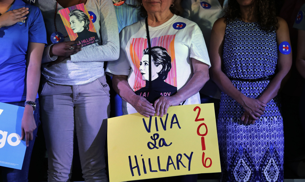 Supporters of Democratic presidential candidate Hillary Rodham Clinton attend a rally during a campaign event, Thursday, Oct. 15, 2015, in San Antonio. (AP Photo/Eric Gay)