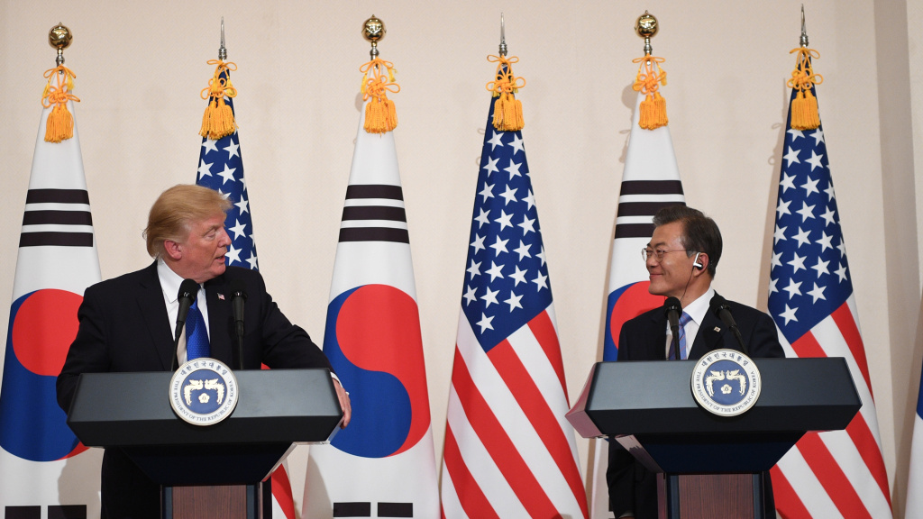 President Trump speaks beside South Korea's President Moon Jae-In as they attend a joint press conference in Seoul on November 7, 2017.