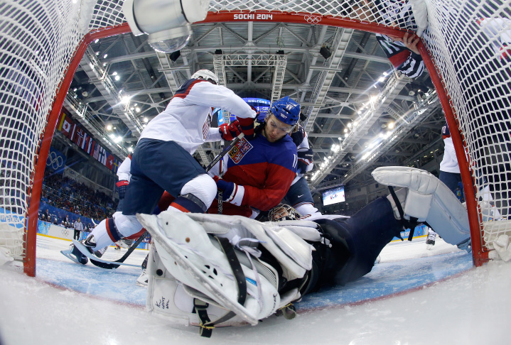 Phil Kessel #81 of the United States scores his team's fifth goal past Alexander Salak #53 of the Czech Republic in the third period during the Men's Ice Hockey Quarterfinal Playoff on Day 12 of the 2014 Sochi Winter Olympics at Shayba Arena on Feb. 19, 2014 in Sochi, Russia.