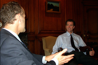 KPCC reporter Frank Stoltze chats with San Francisco Mayor Gavin Newsom.