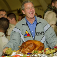 President George W. Bush paid a surprise Thanksgiving visit to American troops in Baghdad on Nov. 27, 2003.