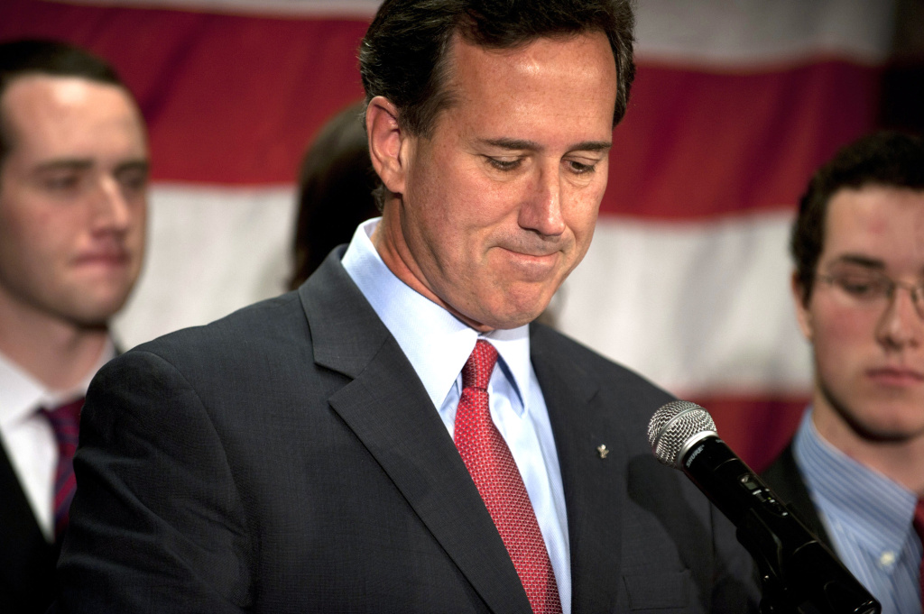 Surrounded by members of his family, Republican presidential candidate, former U.S. Sen. Rick Santorum announces he will be suspending his campaign during a press conference at Gettysburg Hotel on April 10, 2012 in Gettysburg, Pennsylvania.  Santorum's daughter, Bella, became ill over the Easter holiday and poll numbers showed he was losing to Mitt Romney in his home state of Pennsylvania.