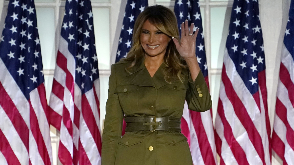 First lady Melania Trump arrives to speak on the second night of the Republican National Convention from the Rose Garden of the White House on Tuesday.