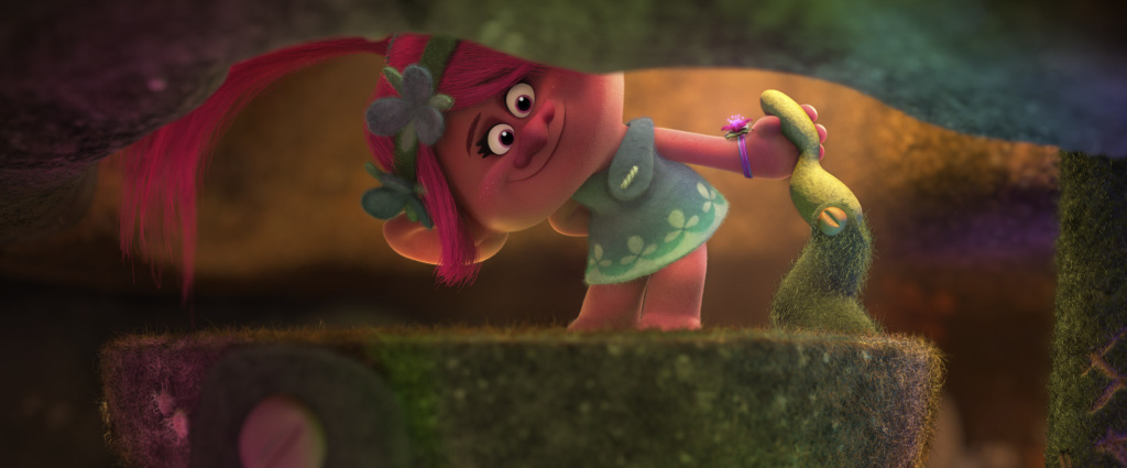 Relentlessly upbeat—if slightly naïve—troll Poppy (voiced by Anna Kendrick) sets off to rescue her friends, the Snack Pack, in DreamWorks Animation's TROLLS.
