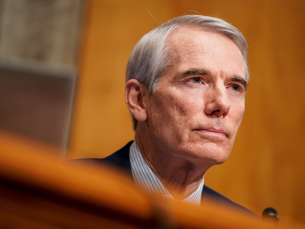Sen. Rob Portman, R-Ohio, seen here during a confirmation hearing on Jan. 19, announced Monday he won't run for reelection in 2022.