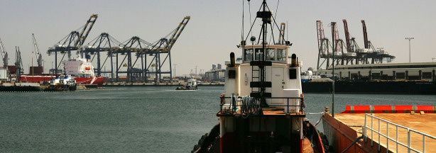 Tug boats work the waters in the Port of Los Angeles June 13, 2007 in San Pedro, California. File photo.