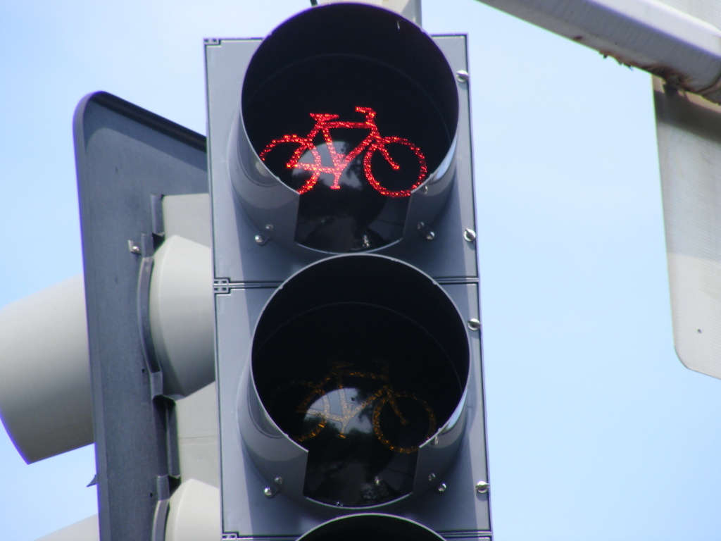 A red bike signal at an intersection in Washington, D.C. Los Angeles will be getting several of its own bike traffic signals this week.