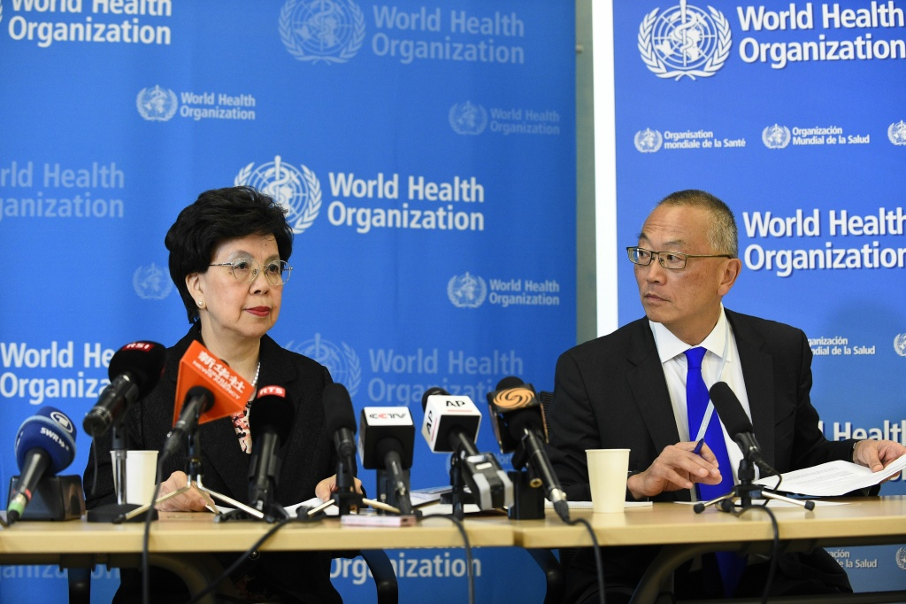 World Health Organization (WHO) Director-General Dr. Margaret Chan with assistant director-general for health security Keiji Fukuda  on August 8, 2014 in Geneva give a press conference following a two-day emergency meeting on west Africa's Ebola epidemic, as the death toll nears 1,000.