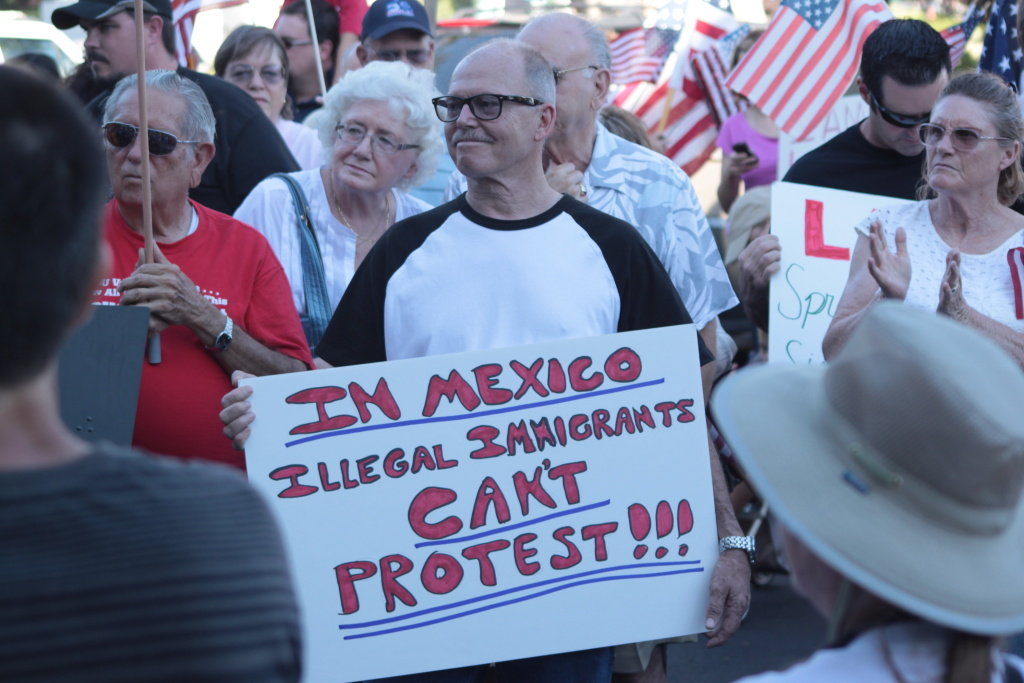 Anti-illegal immigration activists outside Temecula City Hall