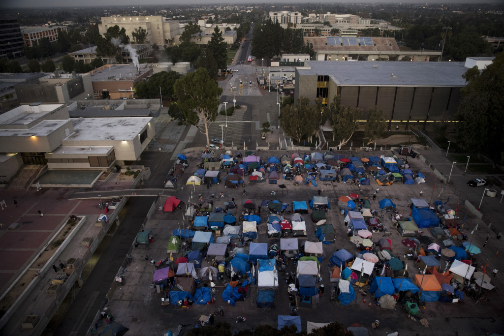 File: A large homeless encampment is formed on the