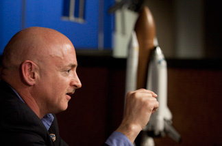 Mark Kelly, astronaut and husband of Rep. Gabrielle Giffords (D-AZ), talks about his plans for the upcoming shuttle mission at the Johnson Space Center Feb. 4, 2011 in Houston, Texas. The Endeavour space shuttle commander plans to resume his training and take part in the mission, which is scheduled to launch on April 19. Rep. Giffords was shot in the head by a gunman at an appearance in Tucson, Arizona in January.