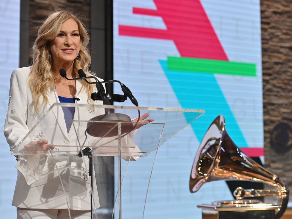 Recording Academy President and CEO Deborah Dugan speaks during the 62nd Grammy Awards Nominations Conference at CBS Broadcast Center in November.