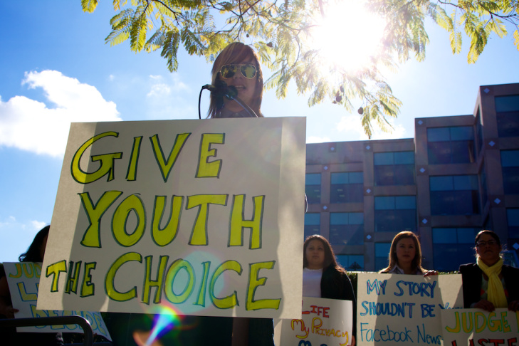 Opponents gathered to voice their opposition to an L.A. Juvenile Court judge's proposed order to automatically open court hearings where, they say, intimate details of foster children's lives are discussed.