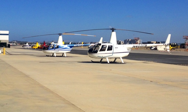 Two helicopters await inspection at the Robinson Helicopter Company manufacturing plant in Torrance. The company is the largest helicopter operator at the city airport's and the world's leading manufacturer of civilian helicopters.