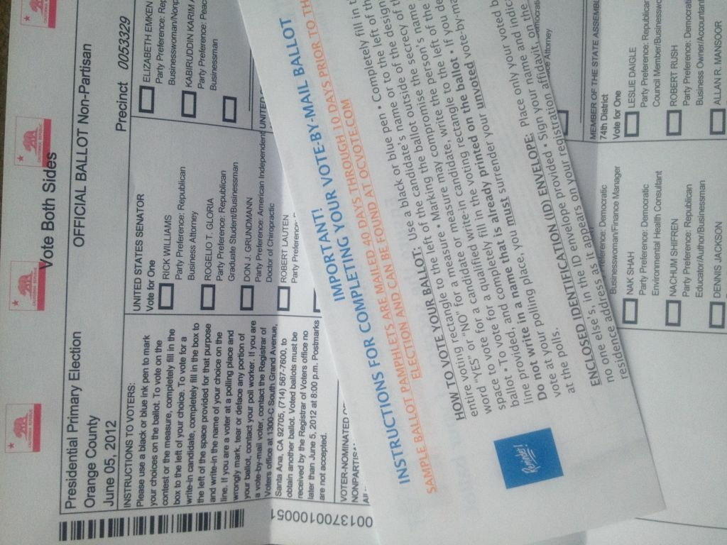 A pile of OC ballots. An increasing number of people in Orange County are choosing to register for permanent vote-by-mail status. If the trend continues, it could save the county money.