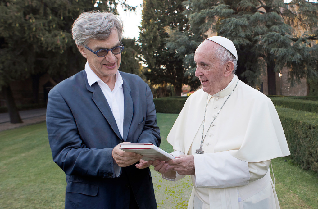 Director Wim Wenders and Pope Francis during the filming of