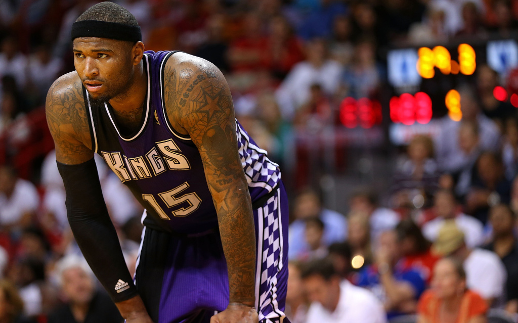 DeMarcus Cousins #15 of the Sacramento Kings looks on during a game against the Miami Heat at American Airlines Arena on February 26, 2013 in Miami, Florida.