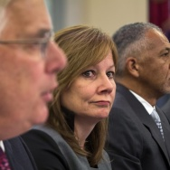 Right to left, executive vice president and general counsel at the General Motors Company Michael Millikin, GM CEO Mary Barra, CEO and president of Delphi Automotive PLC Rodney O'Neal and chairman of the firm at Jenner & Block Anton Valukas, testify befor