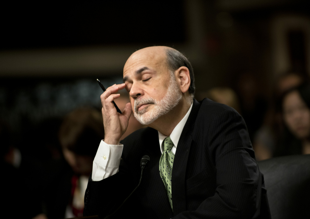 Federal Reserve Chairman Ben S. Bernanke listens to questions during a hearing of the Joint Economic Committee on Capitol Hill June 7, 2012 in Washington, DC.