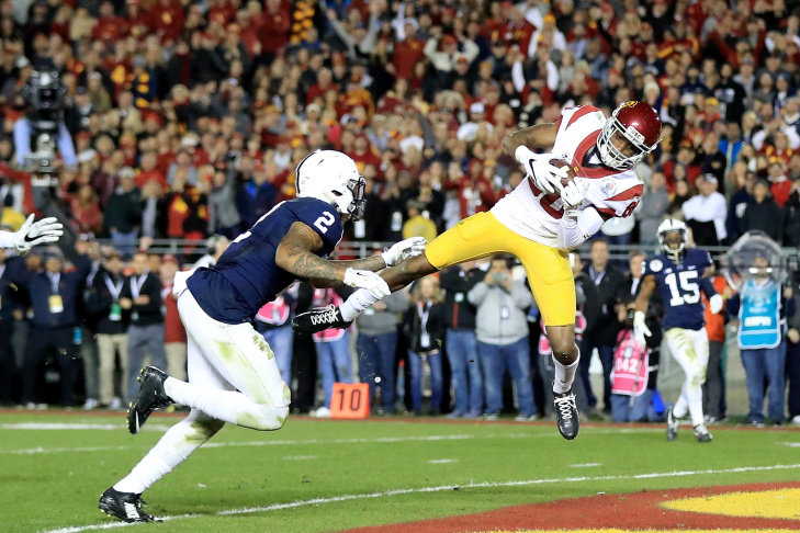 Wide receiver Darreus Rogers #1 of the USC Trojans celebrates after defeating the Penn State Nittany Lions 52-49 to win the 2017 Rose Bowl Game presented by Northwestern Mutual at the Rose Bowl on January 2, 2017 in Pasadena, California.