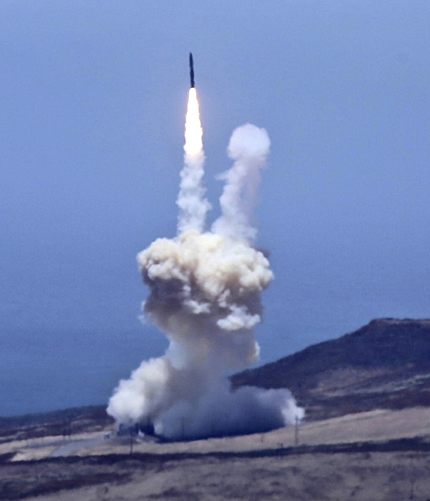 An rocket designed to intercept an intercontinental ballistic missiles is launched from Vandenberg Air Force Base in Calif. on Tuesday, May 30, 2017. The Pentagon says it has shot down a mock warhead over the Pacific in a success for America's missile defense program. The test was the first of its kind in nearly three years. And it was the first test ever targeting an intercontinental-range missile like North Korea is developing.