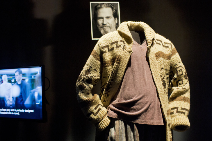 Film clips of famous Hollywood costumers are on display at the entrance of the Academy of Motion Picture Arts and Sciences' Hollywood Costume exhibition at the Wilshire May Company Building. The show opens October 2.