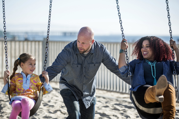 Delia Douglas-Haight, husband William Haight and daughter Soleil Haight, 5, play together at the Venice Beach Boardwalk Playground on Tuesday afternoon, Jan. 17, 2017. One of the biggest demographic changes over the last few decades has been in the number of children under five who are mixed race. In 1970, just 1 percent of babies had parents of different races. Today it's 10 percent.
