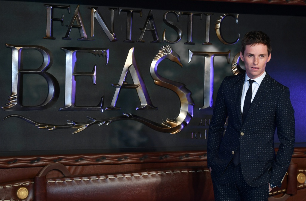 British actor Eddie Redmayne poses after arriving to attend the European premiere of the film 'Fantastic Beasts and Where to Find Them.'